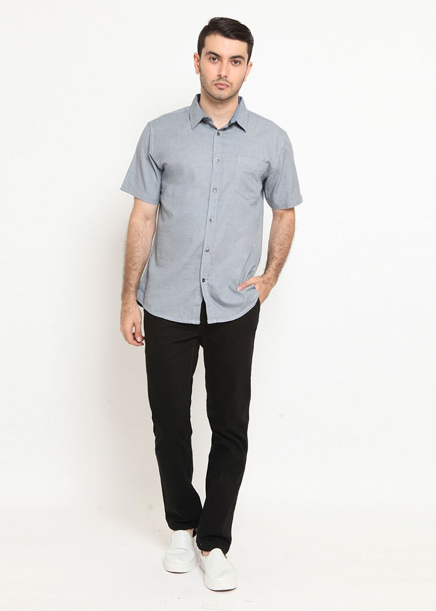 Blue color Casual Shirts . POLICE Kemeja Polos Regular Fit Pria  -
