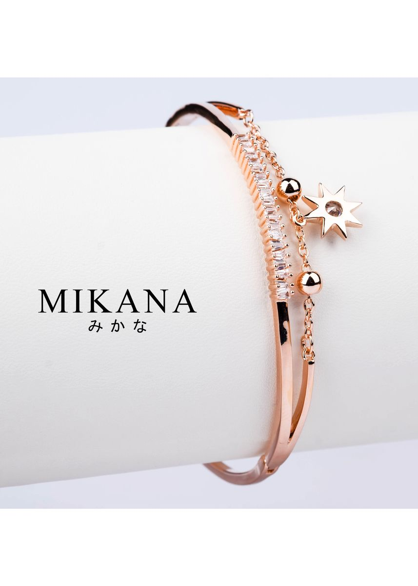 Gold color  . Mikana 18k Rose Gold Plated Yuuki Bangle Bracelet Accessories for Women -