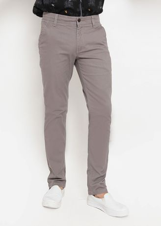Grey color Casual Trousers and Chinos . POLICE Celana Chinos Slim Fit Pria  -