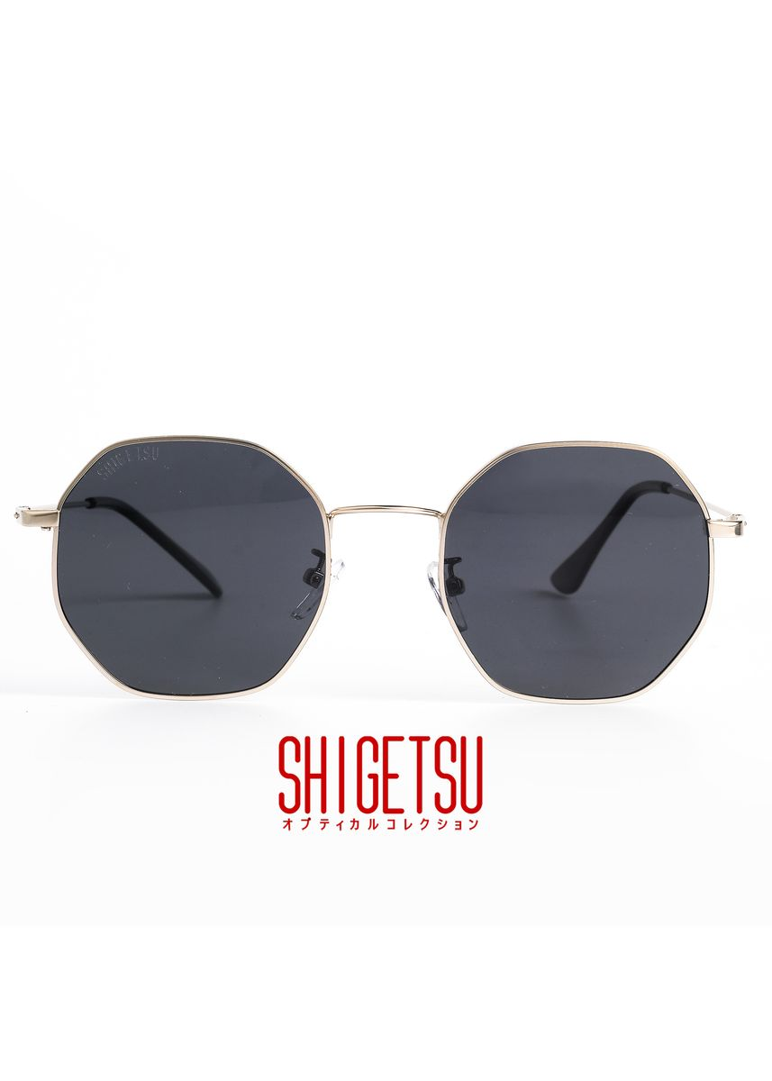 Gold color Sunglasses . Shigetsu FUKUI Classic Polarized Anti Glare Sunglasses / Black Flash Lens Sunglass / Eyewear Shades / High Quality Acetate Frame / Fashion Sunnies with UV Protection / High Quality Hinge -