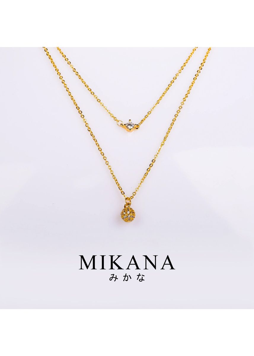 Gold color  . Mikana 18k Gold Plated Hatsu Layered Pendant Necklace Accessories for Women -