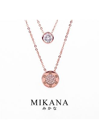 Gold color  . Mikana 18k Rose Gold Plated Akae Layered Pendant Necklace Accessories for Women -