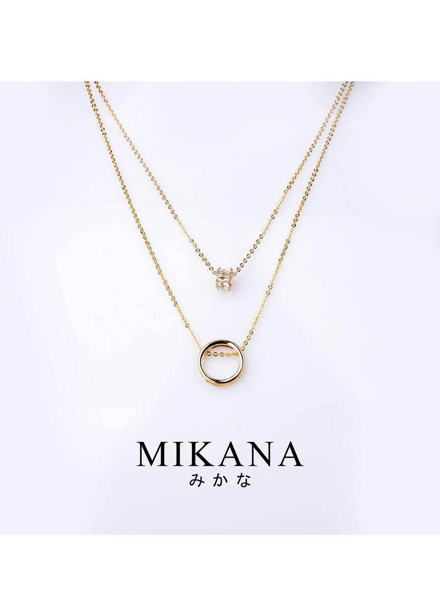 Gold color  . Mikana 18k Gold Plated Sawako Layered Pendant Necklace Accessories for Women -