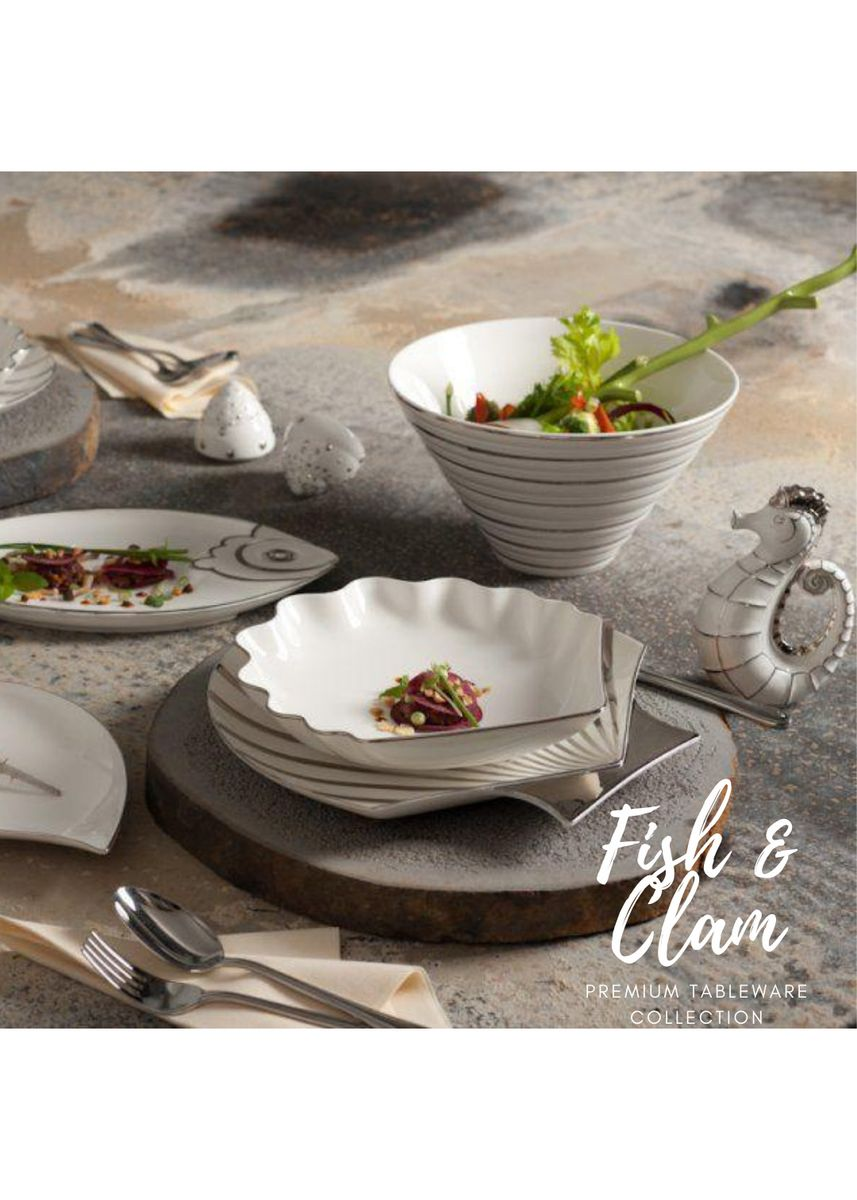 White color Kitchen . Fish & Clam - Shell-Shaped Plate (31cm) -