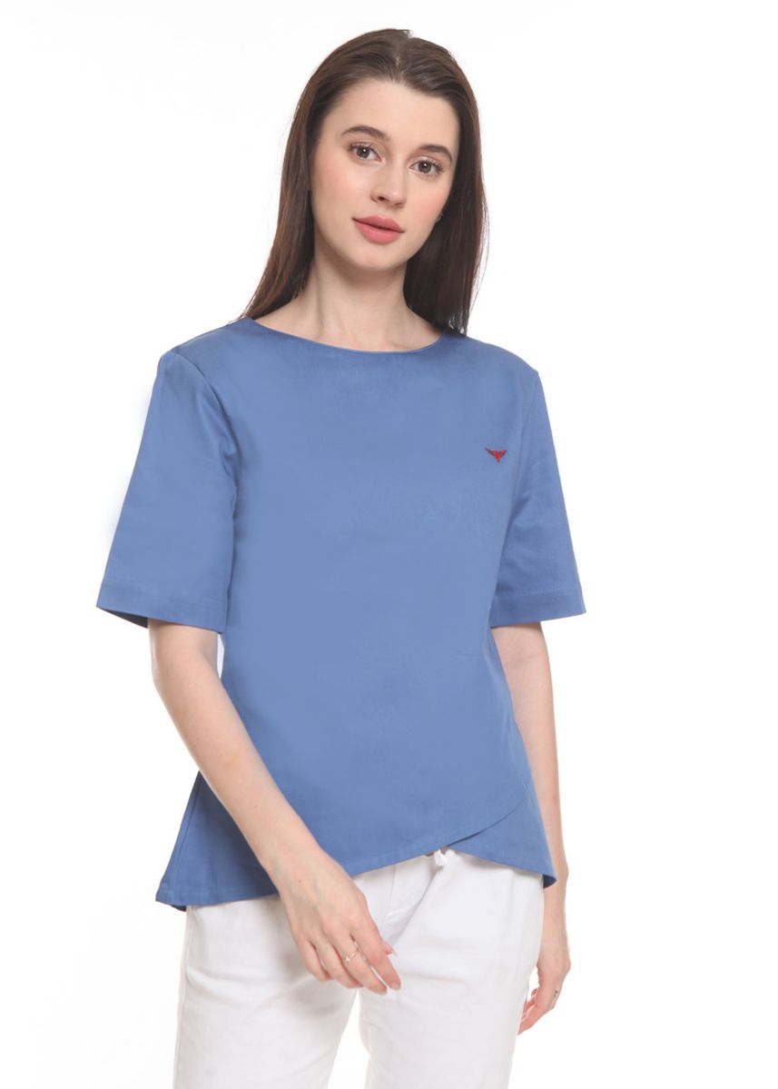Blue color Tops and Tunics . 2nd RED Blouse Round Neck Island Blue RN2004 -