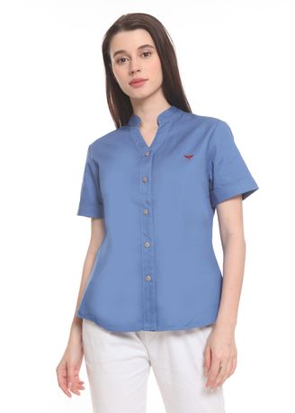 Blue color Tops and Tunics . 2nd Red Blouse V Neck S/S Sky Blue VN2009 -