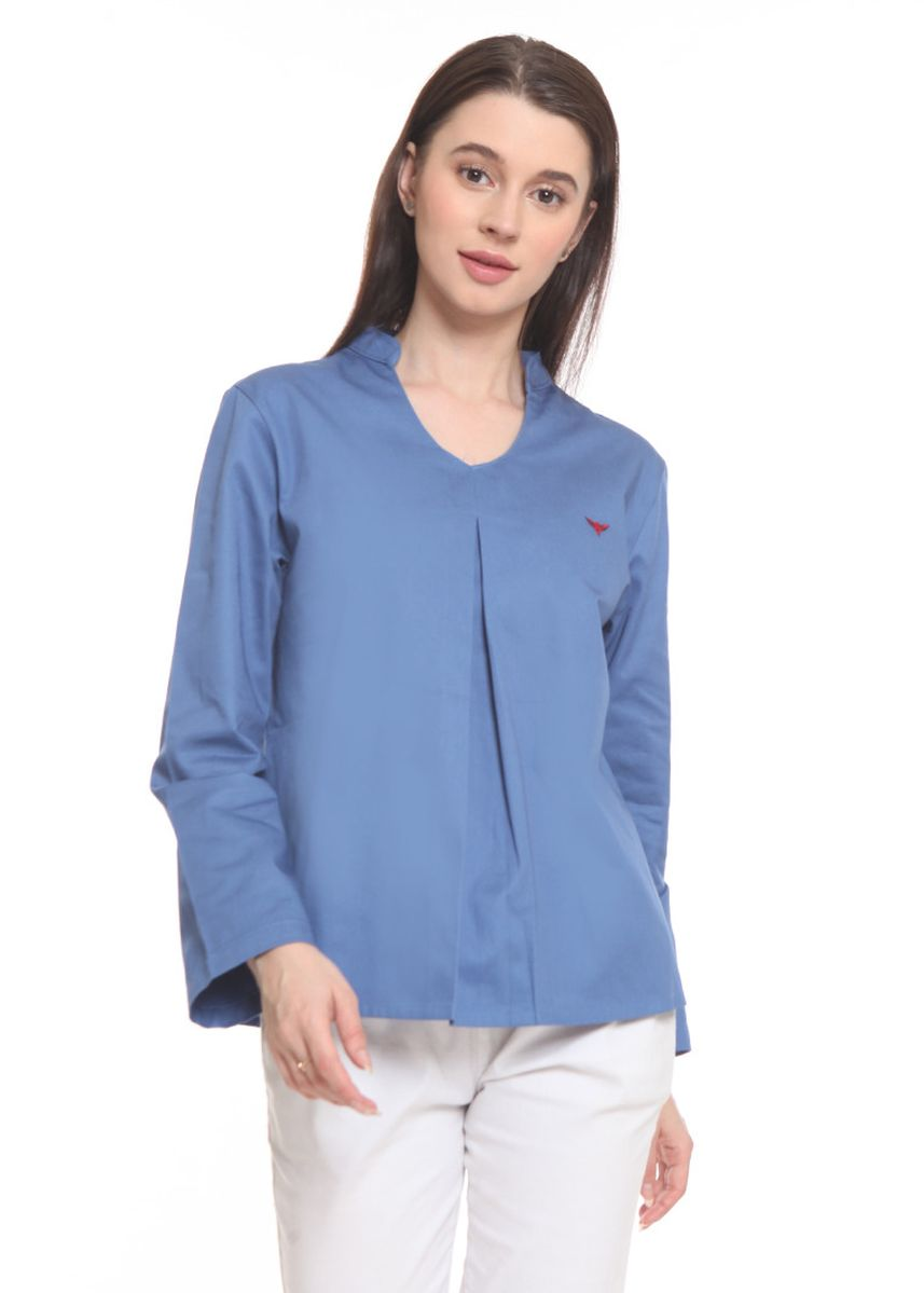 Blue color Tops and Tunics . 2nd Red Blouse Oval Neck L/S Sky Blue ON2014 -