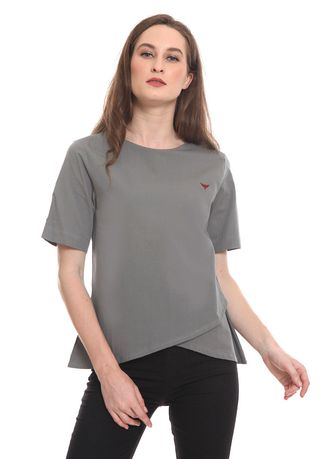 Grey color Tops and Tunics . 2nd Red Blouse Round Neck Dark Grey RN2001 -