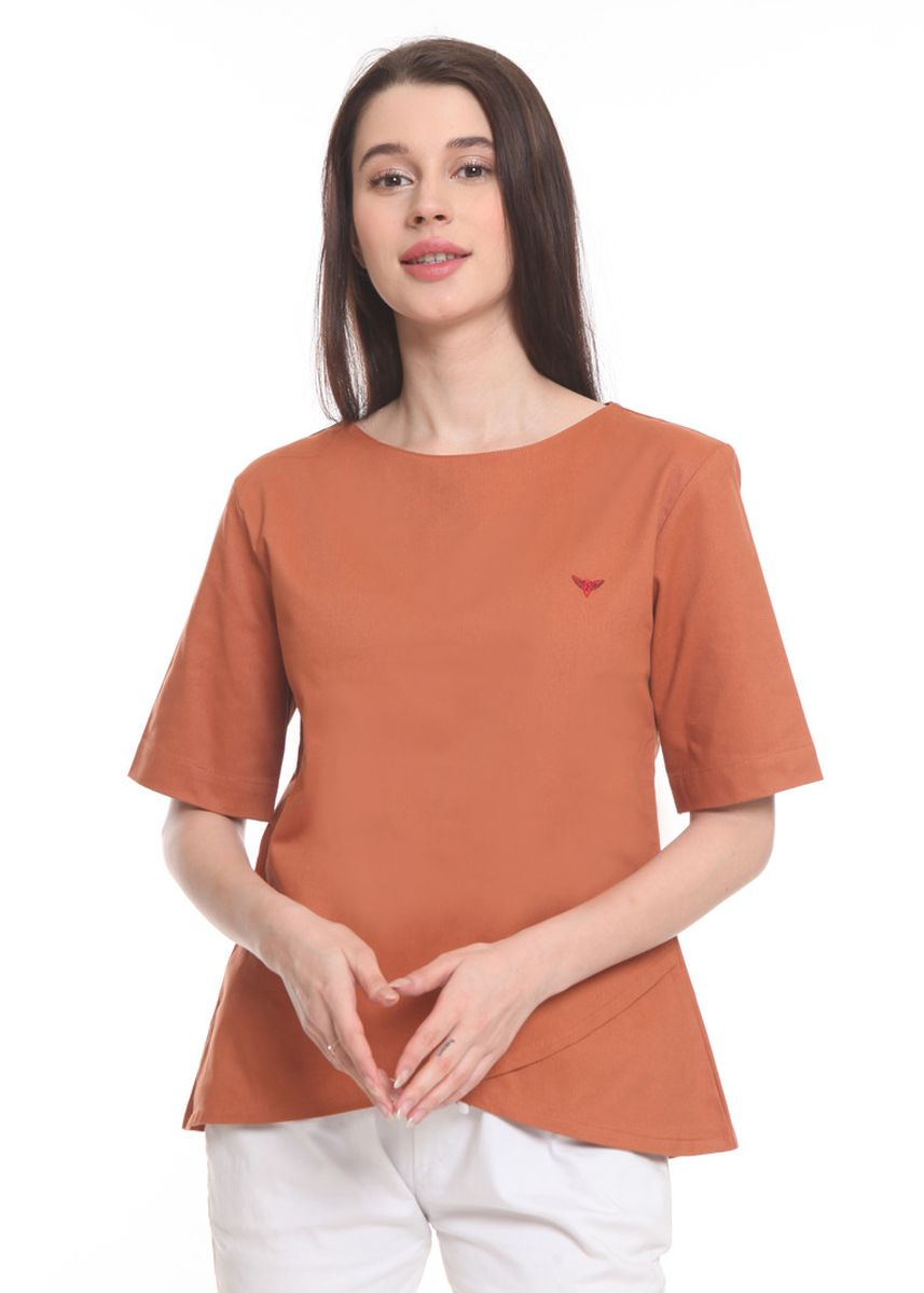 Orange color Tops and Tunics . 2nd Red Blouse Round Neck Oren RN2005 -
