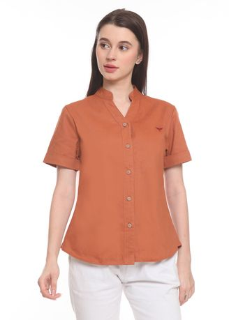 Orange color Tops and Tunics . 2nd Red Blouse V Neck S/S Oren VN2010 -
