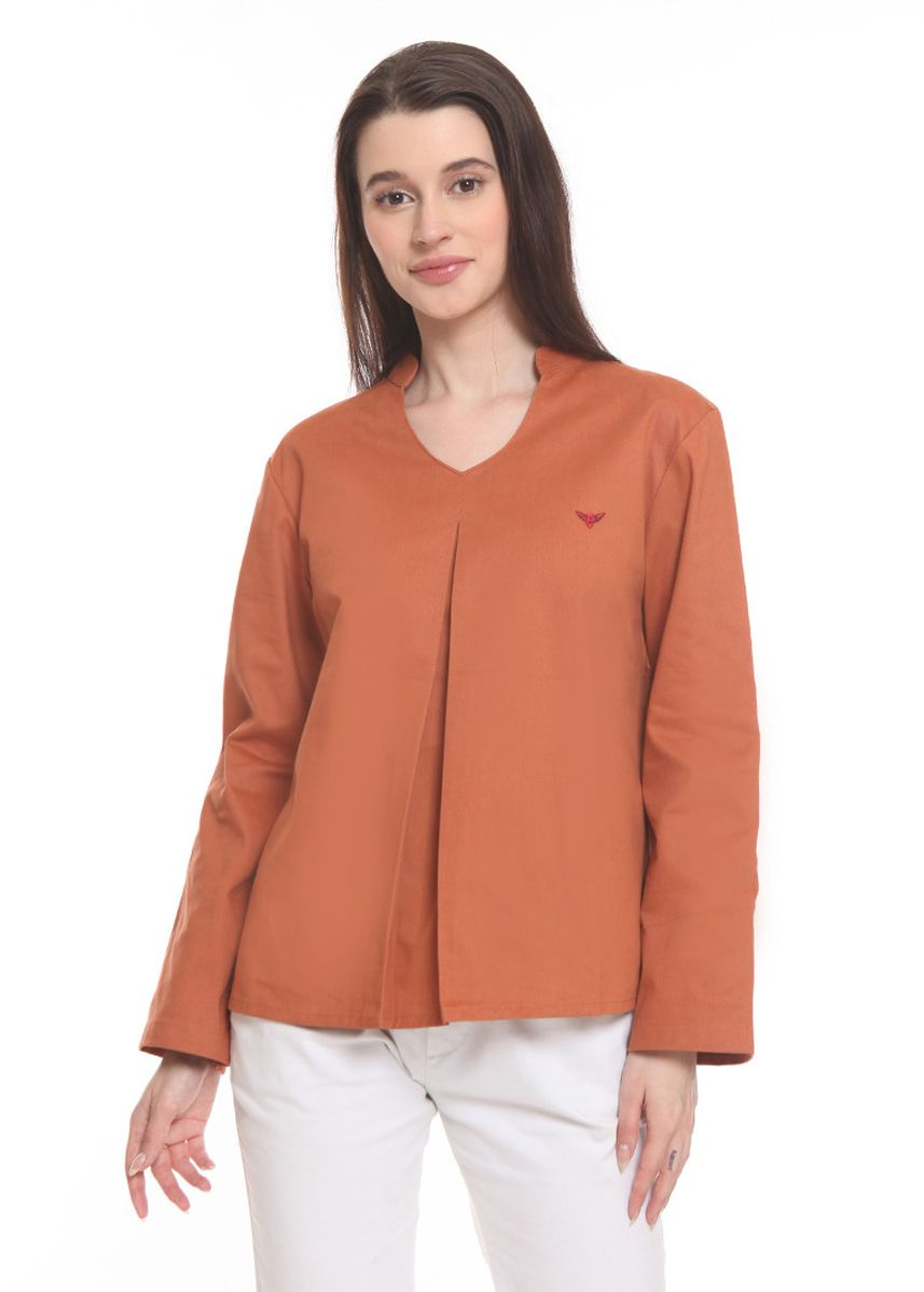 Orange color Tops and Tunics . 2nd Red Blouse Oval Neck L/S Oren ON2015 -
