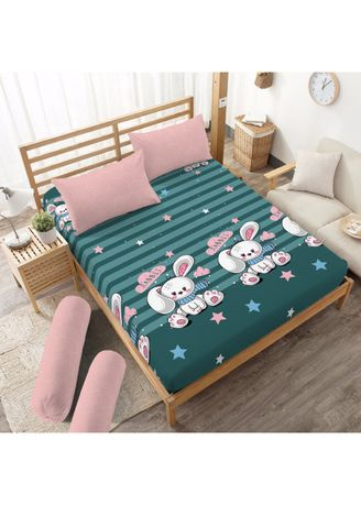 White color Bedroom . Sprei Queen 160 Bonnie Dirumah Aja Kids  Kintakun D'luxe Microtex 5in1 20cm -