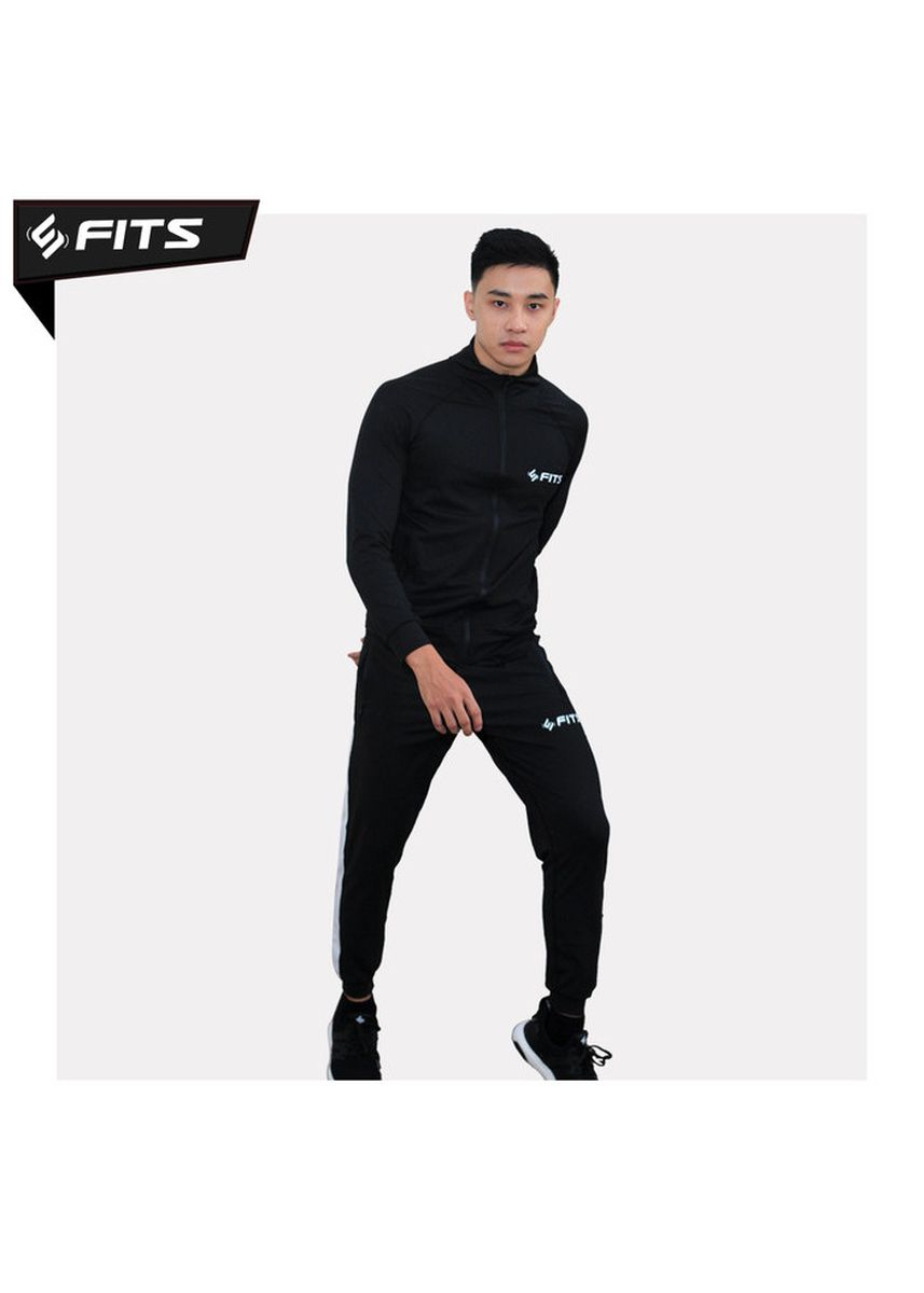 Black color Sports Wear . SFIDN FITS Trainflex Jaket+Celana Jogger Set Olahraga Lari Gym Fitness -