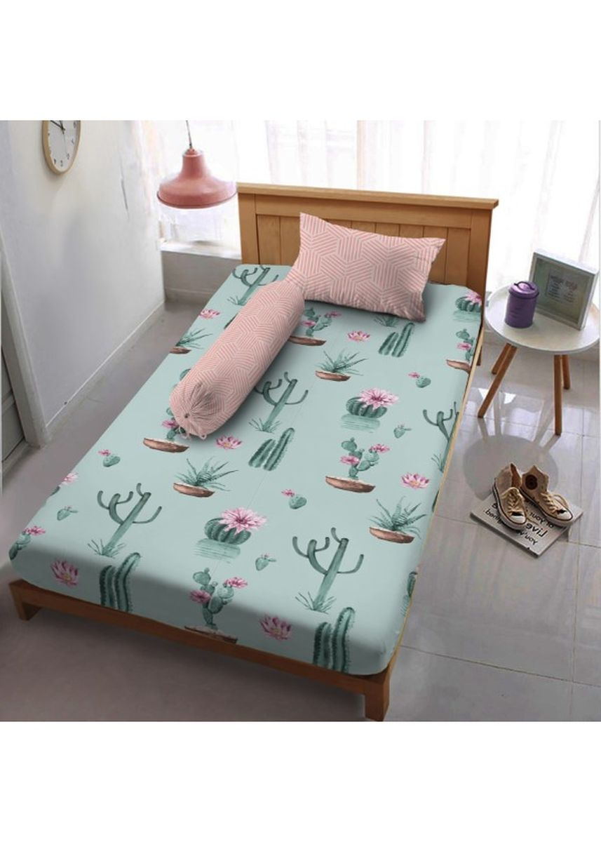 Green color Bedroom . Sprei Extra Single 120 Cactus Dirumah Aja  Kintakun D'luxe Microtex 3in1 20cm -