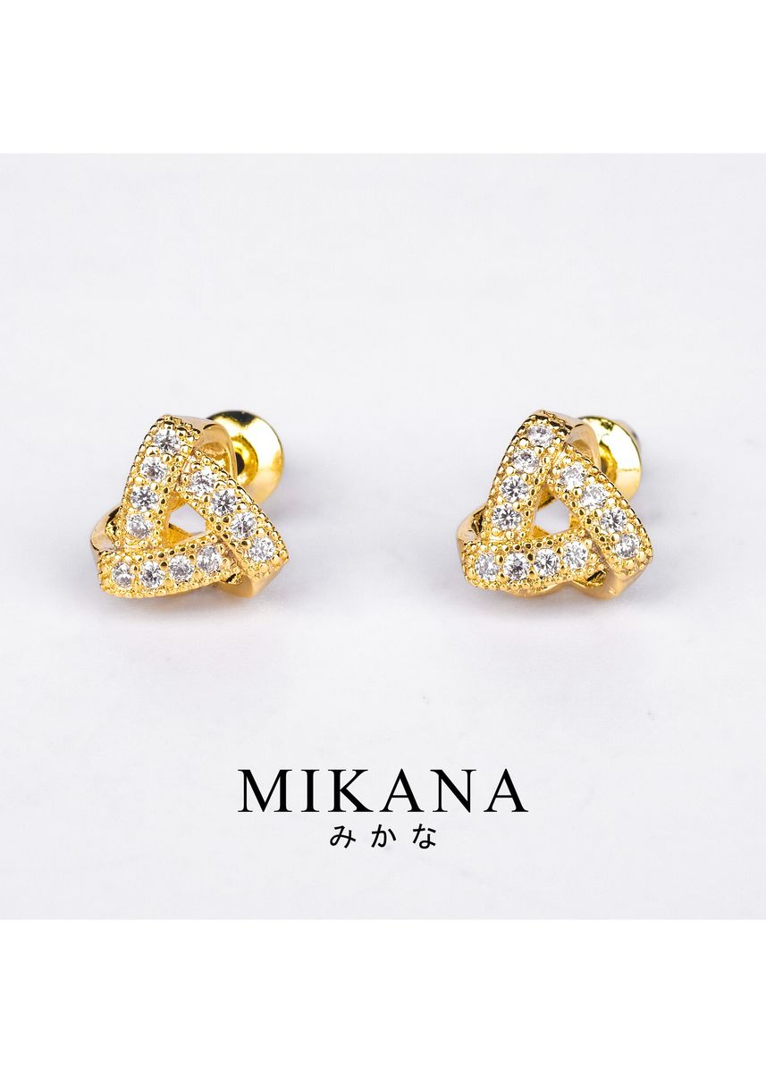 Gold color  . Mikana 18k Gold Plated Danuja Stud Earrings Accessories for Women -