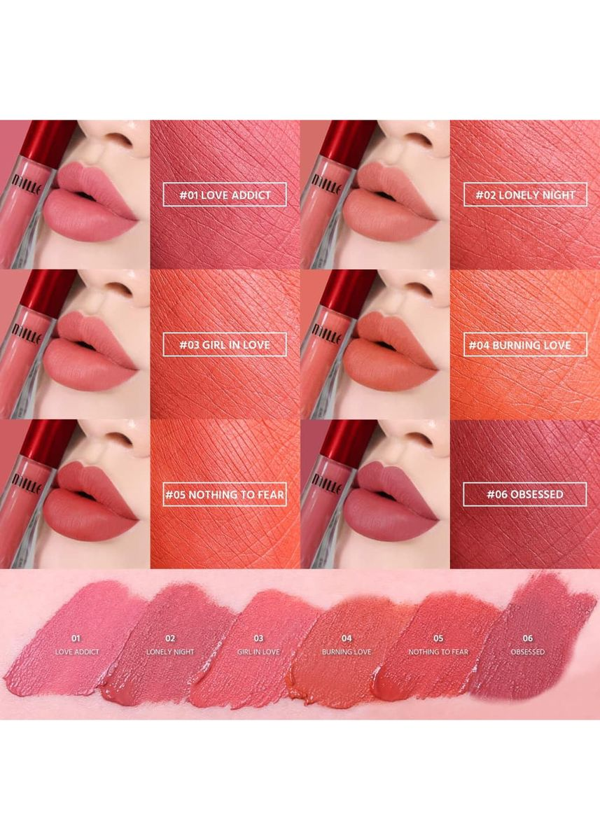 No Color color Lips . MILLE LOVE IS ON FIRE LIQUID LIP 1.7G  #02 LONELY NIGHT  -