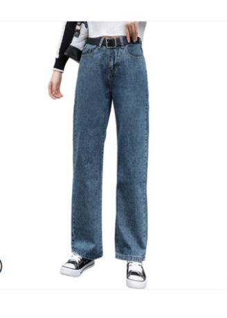 Light Blue color Jeans . Jin Yi Lai Female Tall Waist Straight Loose Jeans -