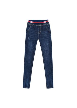 Blue color Jeans . Jin Yi Lai Stretch Jeans New Female Yards Pencil Feet Pants -
