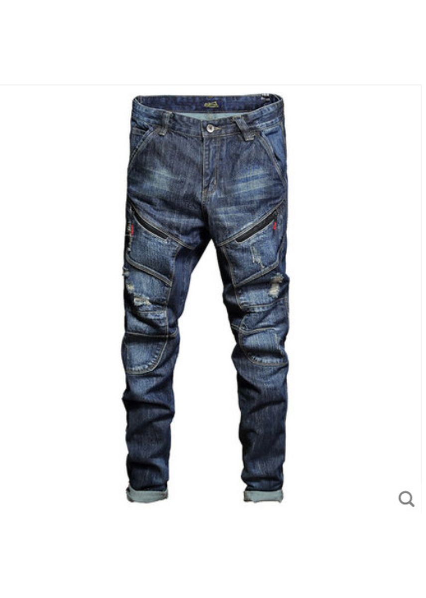 Blue color Jeans . Bluemale Youth Popular Logo Individuality -