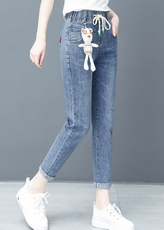 Blue color Jeans . Jin Yi Lai The New Foot Haroun Pants -
