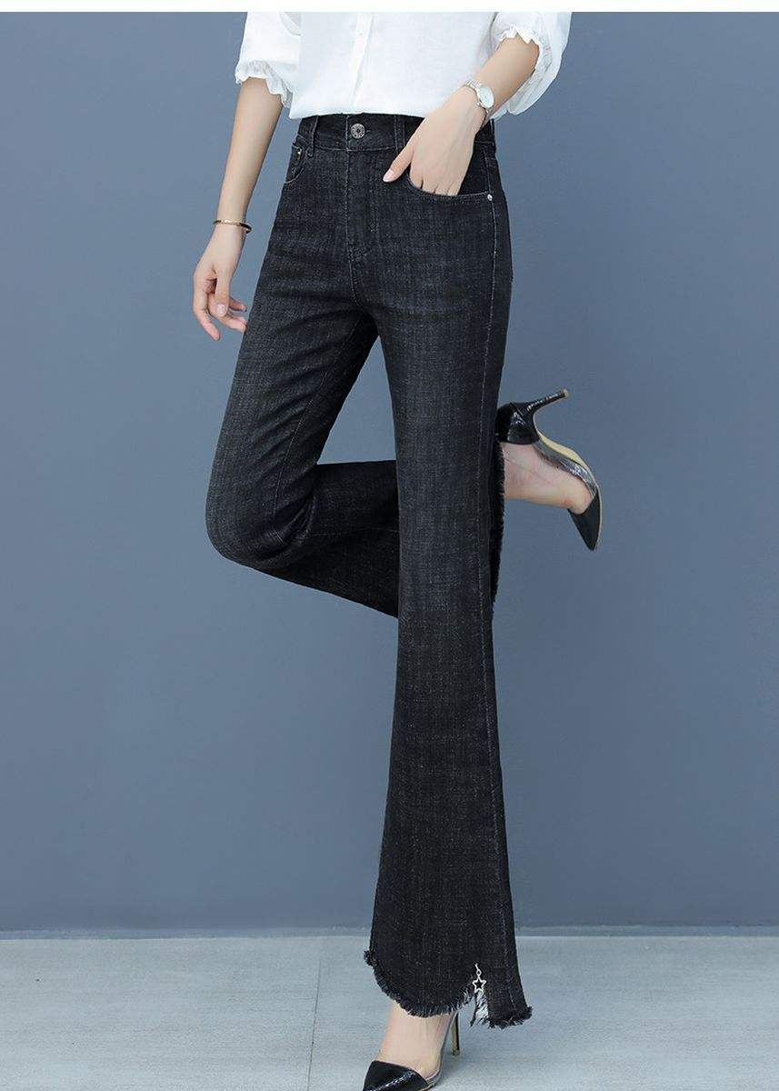 ดำ color ยีนส์ . Tall Waist Single-Breasted Burrs Wide-Legged Pants -