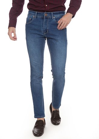 Biru color Celana Jeans . 2nd Red Slim Fit Jeans FLamingo Mid Blue JS1917 -