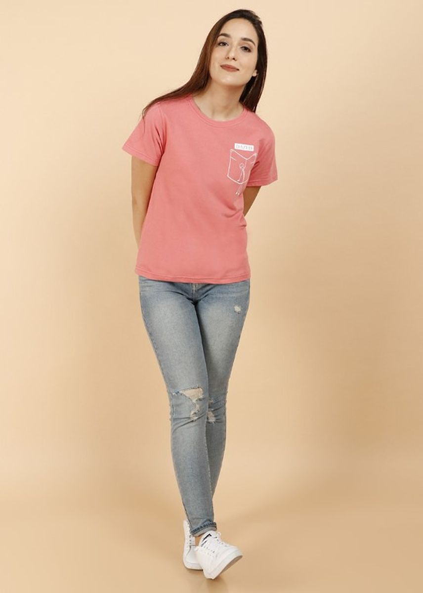 Pink color Tees & Shirts . SS Printed Women Tee - Dazed -