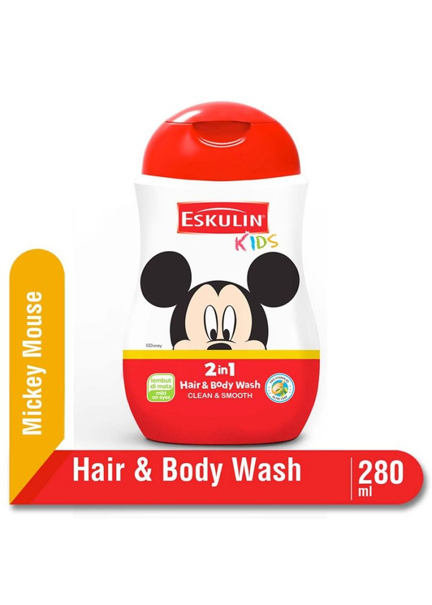 Tidak Berwarna color Sabun Cair & Pembersih . Eskulin Kids Hair & Body Wash 280ml Botol - Mickey Mouse -