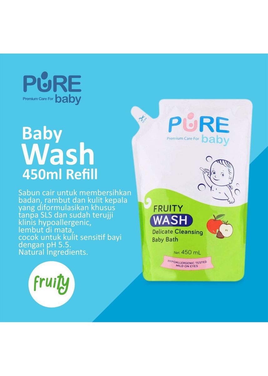 No Color color Body Wash . Pure Baby Wash Sabun Mandi Bayi Fruity Refill 450ml -
