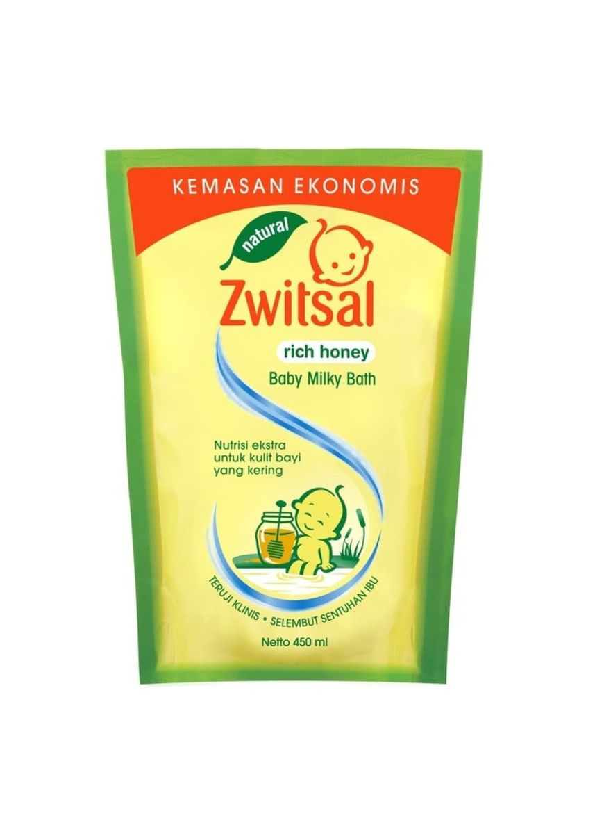No Color color Body Wash . Zwitsal Baby Milky Bath Natural Rich Honey Pouch 450ml Sabun Bayi Cair -