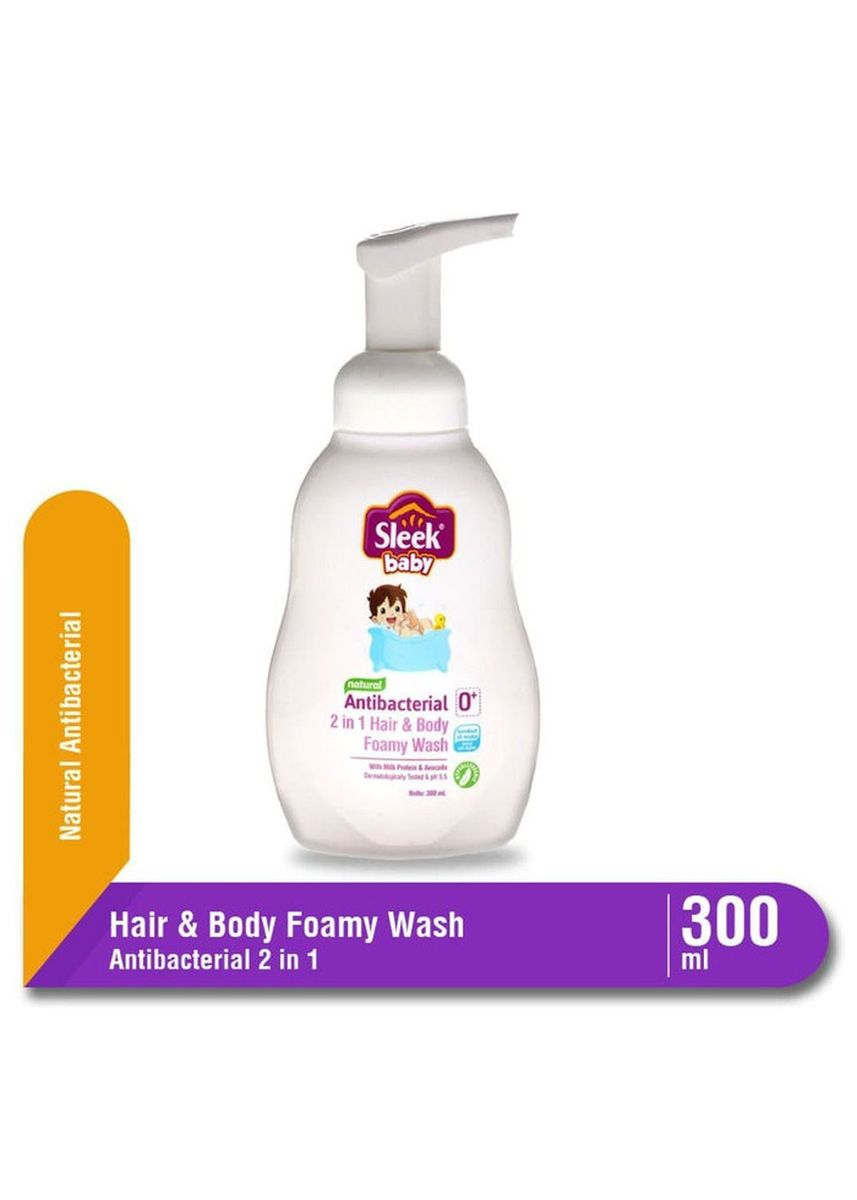 No Color color Body Wash . Sleek Natural Antibacterial 2in1 Hair & Body Foamy Wash 300ml Pump -