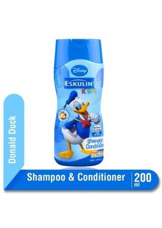 Tidak Berwarna color Sampo Bayi . Eskulin Kids Shampoo Dan Conditioner 200ml Botol Edisi Donald Duck -