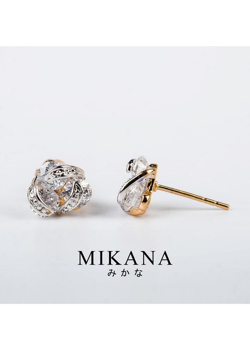 Gold color  . Mikana 18k Gold Plated Erimo Stud Earrings Accessories for Women -