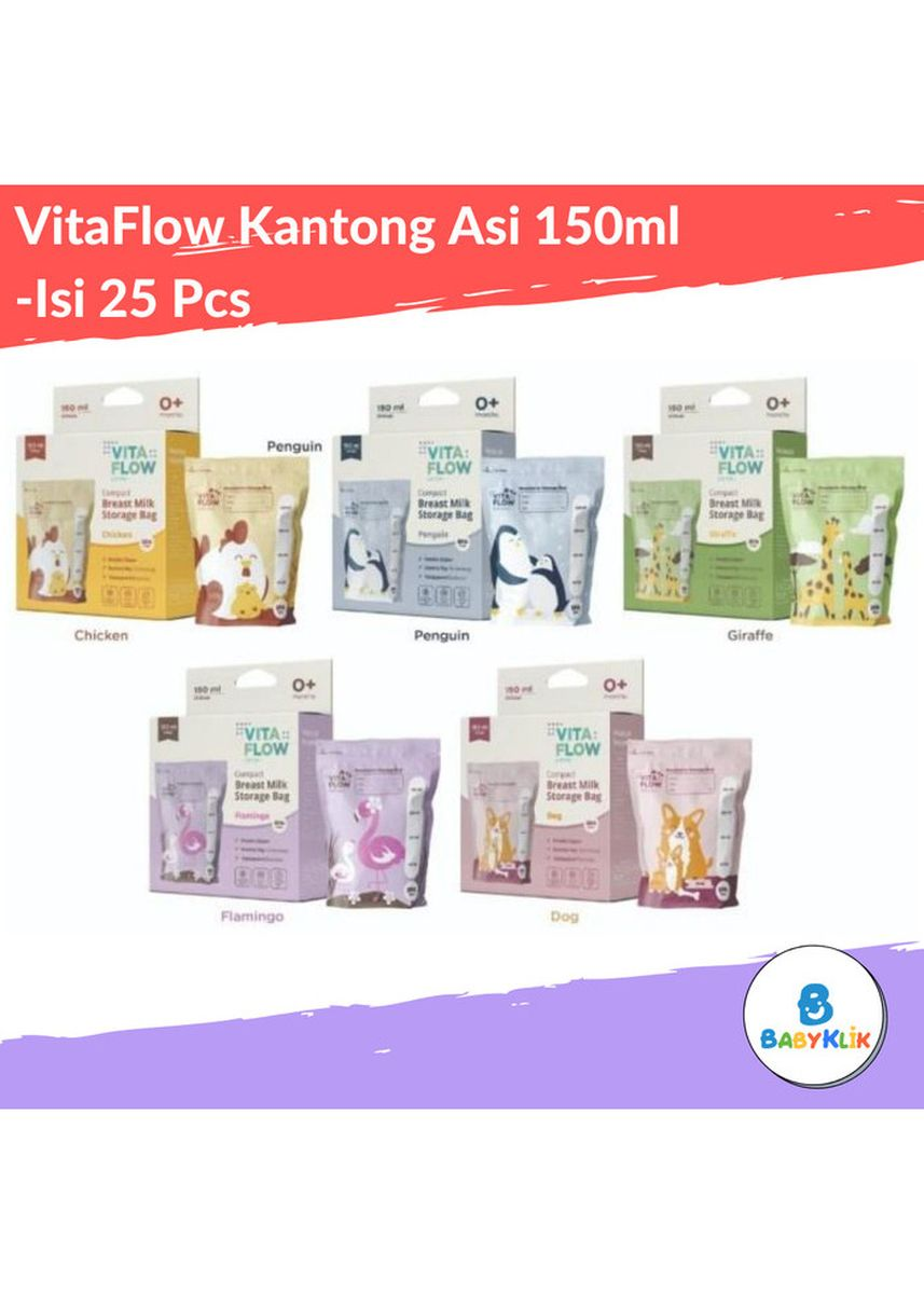 Abu-Abu color Pompa ASI . VitaFlow Breast Feeding Stronge Bag - Kantong ASI 150ml -Animal Series -