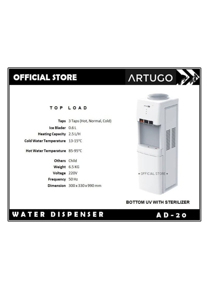 Tidak Berwarna color Penyaring Air . Top-Load Water Dispenser ARTUGO AD 20 (Botton UV / Sterilizer) -