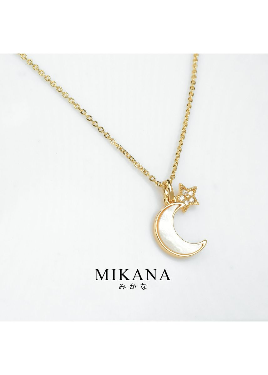 Gold color  . Mikana 18k Gold Plated Tsukiyomi Pendant Necklace Accessories for Women -
