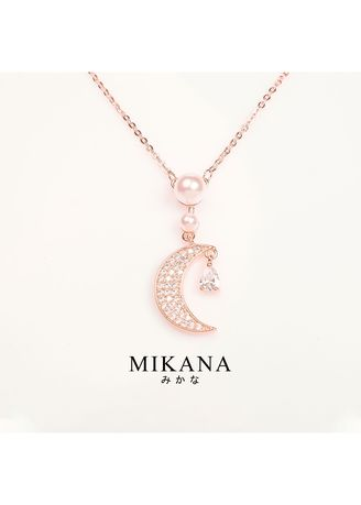 Gold color  . Mikana 18k Rose Gold Plated Kurenai Pendant Necklace Accessories for Women -