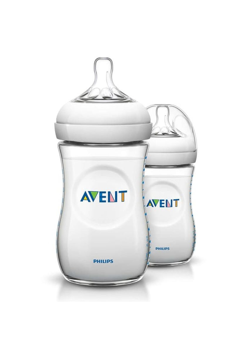 White color Feeding Bottle . Philips Avent Baby Natural Bottle 260ml Twin Pack White/Botol Susu Dot -