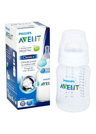 White color Feeding Bottle . Philips Avent Baby Classic Bottle 260ml Single Pack/ Botol Susu Dot -