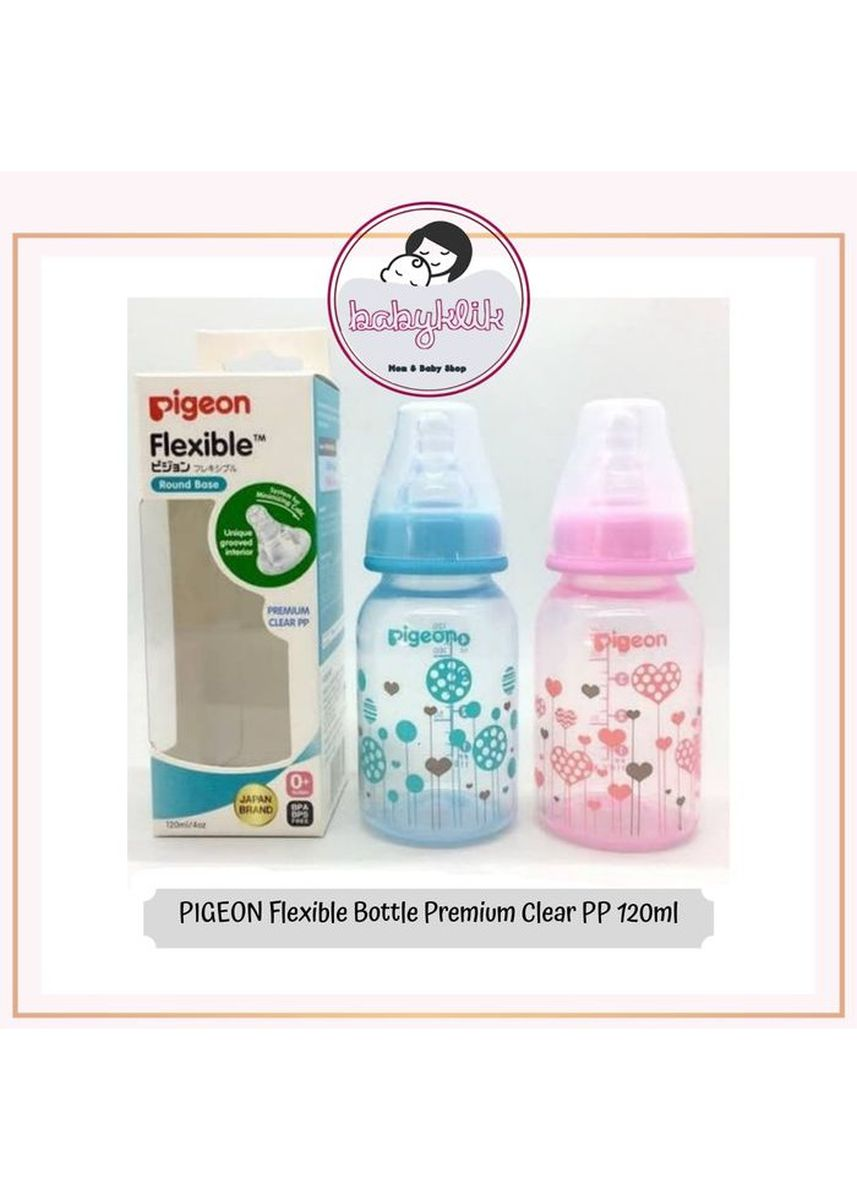 Biru color Botol Susu . Pigeon Flexible Bottle Premium Clear PP Botol Susu Bayi Fleksibel 120ml -