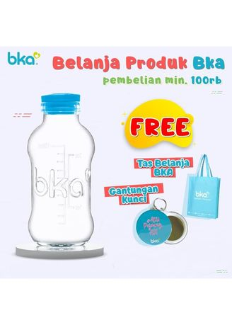 White color Feeding Bottle . Botol Kaca Asi BKA Tutup Karet 100ml [Isi 8 botol] -