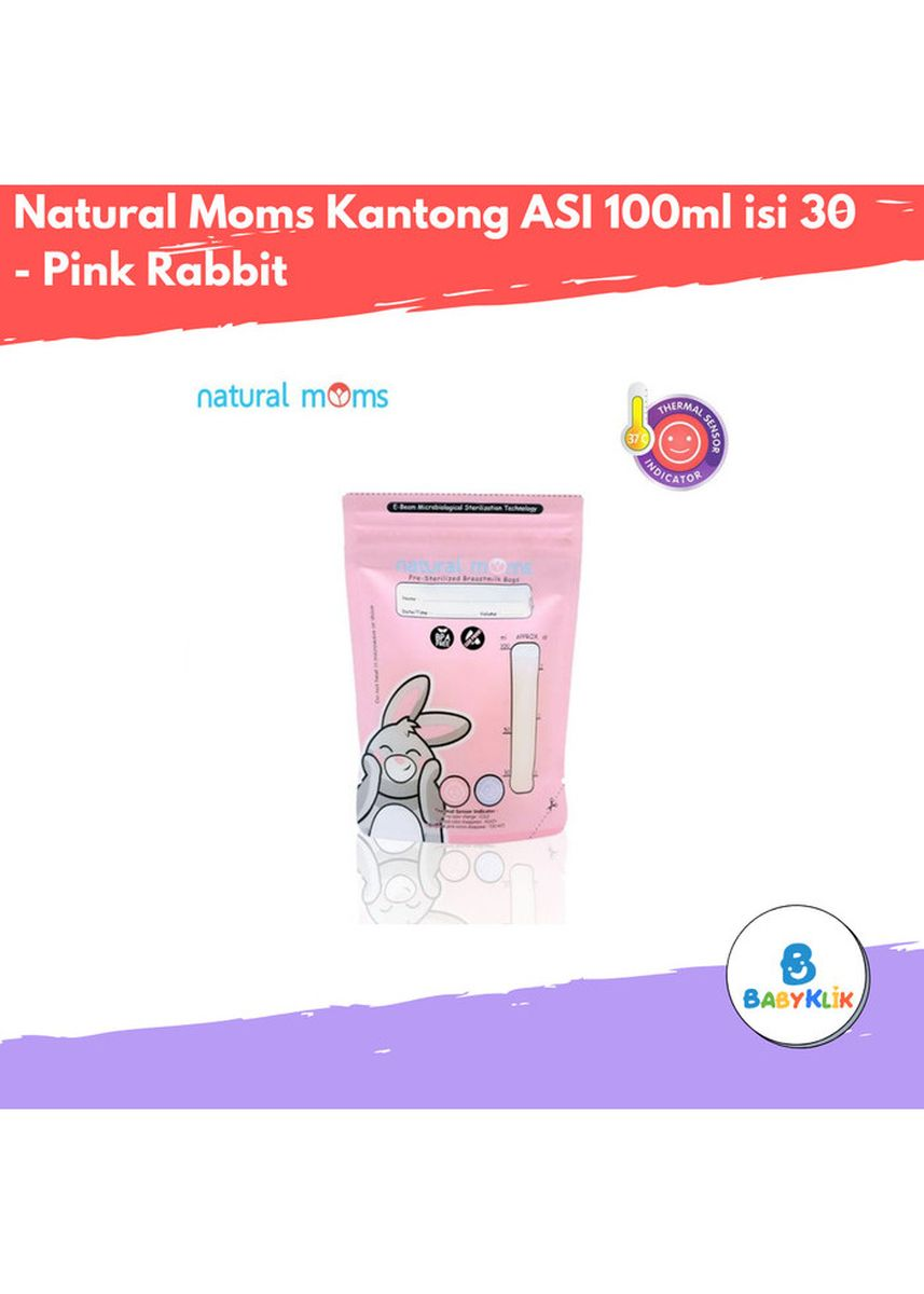 Merah Muda color Botol Susu . Natural Moms Kantong ASI 100ml isi 30 - Pink Rabbit -