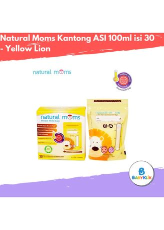 Yellow color Feeding Bottle . Natural Moms Kantong ASI 100ml isi 30 - Yellow Lion -