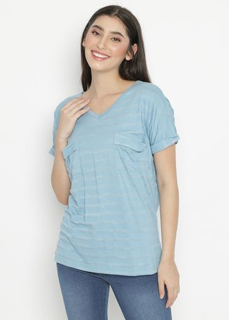 Tops and Tunics . Batwing Stripe Blouse Blue Ocean Mobile Power Ladies - Ok20012 -