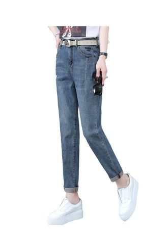 Light Blue color Jeans . Jin Yi Lai The Spring And Autumn Casual Pants -