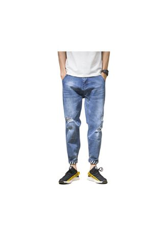 Blue color Jeans . Blue Ripped Jeans -