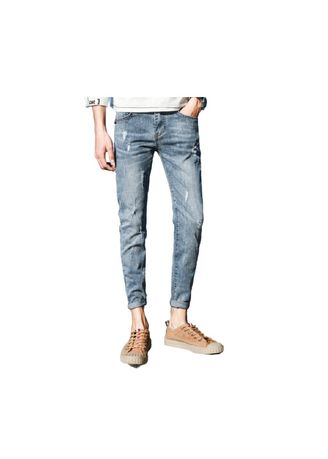 Blue color Jeans . Blue Men's Trousers Ripped Bound Feet -