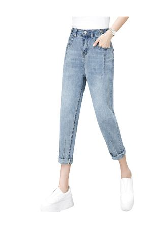 ฟ้า color ยีนส์ . Jin Yi Lai New Easing Of Tall Waist Thin Trousers -