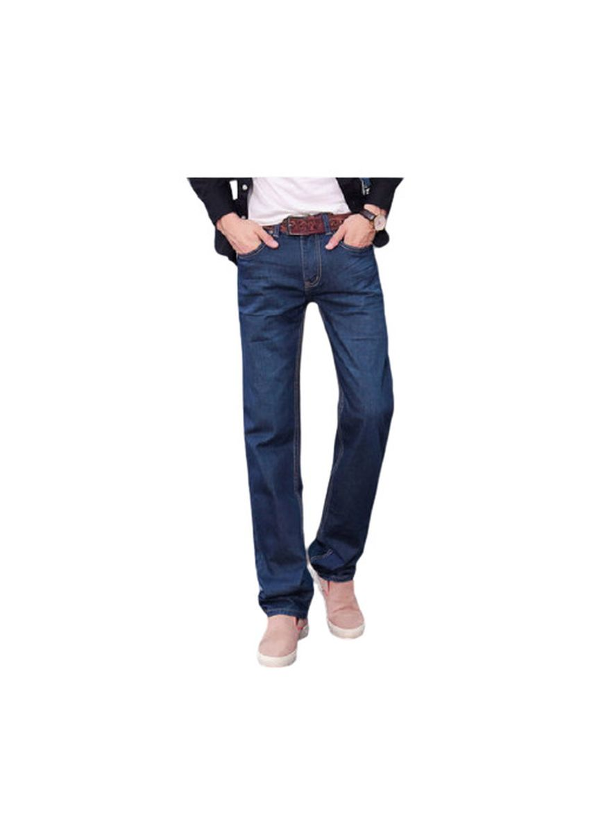 Blue color Jeans . Straight Waist Buff In Dark Blue Pants -