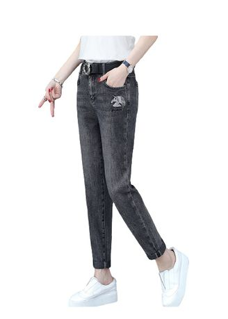 Black color Jeans . Jin Yi Lai The New Thin Tall Waist Loose Pants -